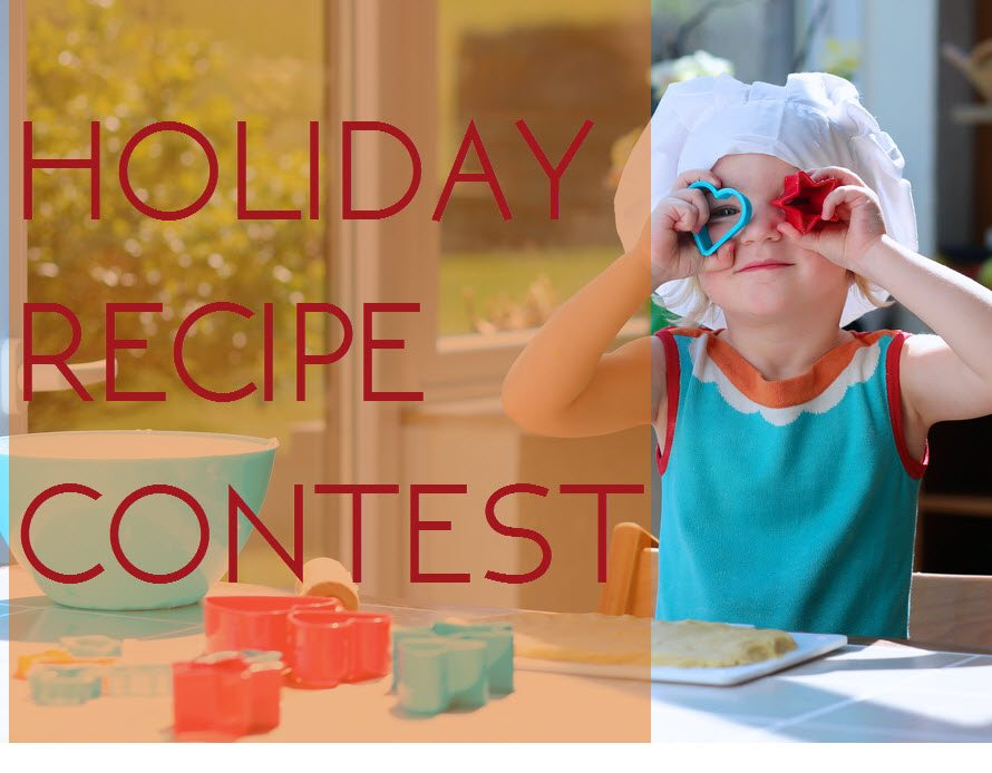 holiday recipe contest girl with cookie cutters on eyes