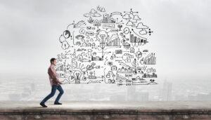 man holding business plan concept diagram